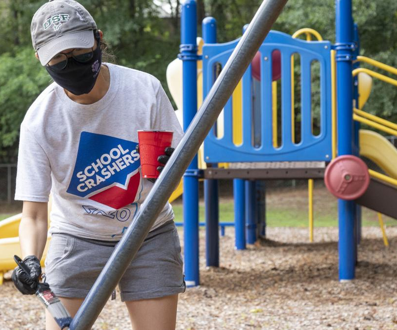 B.B. Harris Elementary outdoor areas get facelift from Georgia United Credit Union employees