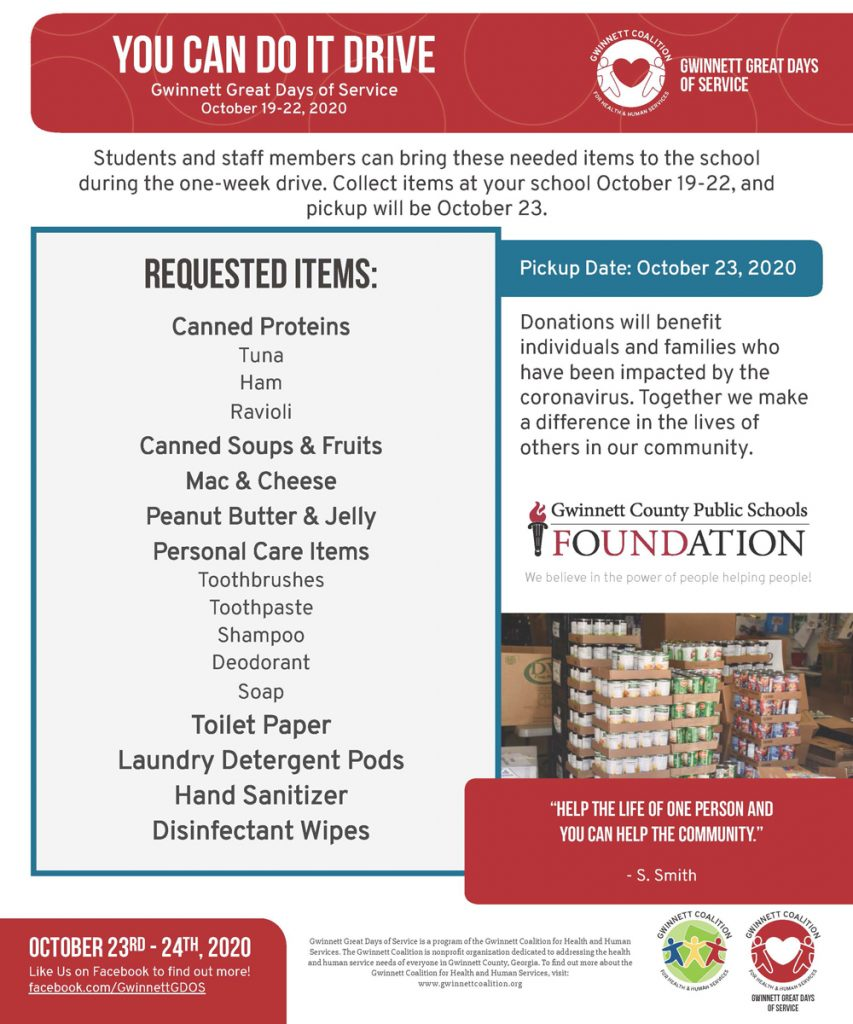 Join GCPS in the Great Days of Service October 19-22!